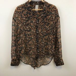 Free People Sheer Floral High/Low Blouse Size XS